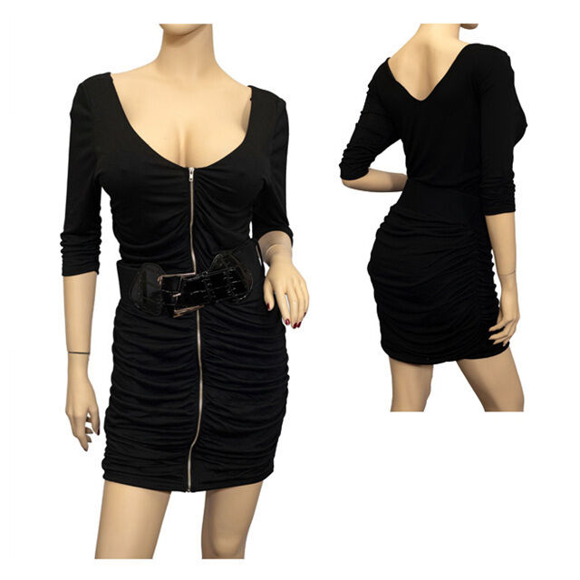 Jr Plus Size Zipper Front Belt Accented Mini Dress Black