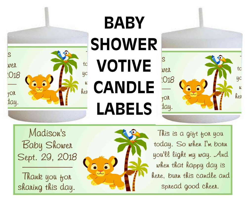 14 lion king baby simba baby shower favors votive candle labels ebay