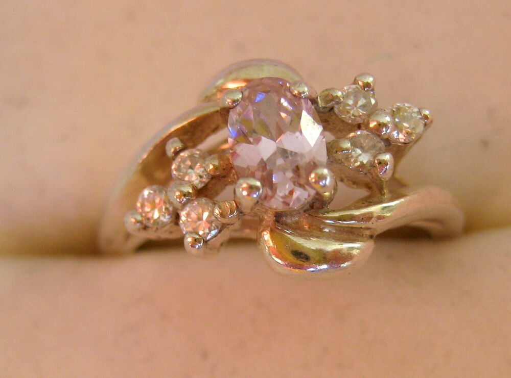 Estate Sterling Silver Amethyst Cz Pink Lilac Stone