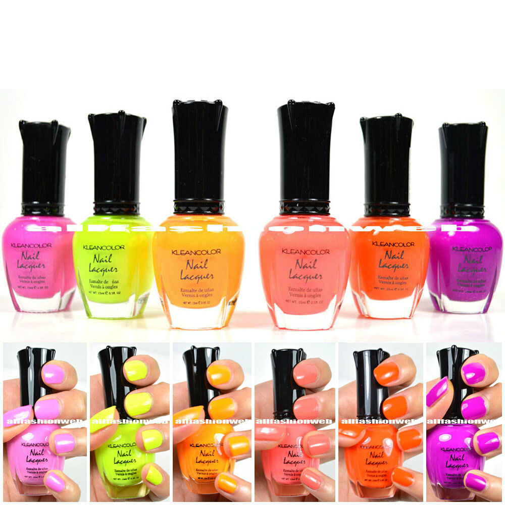Kleancolor Nail Polish NEON + BURST Lot Of 6! Lacquer Neon