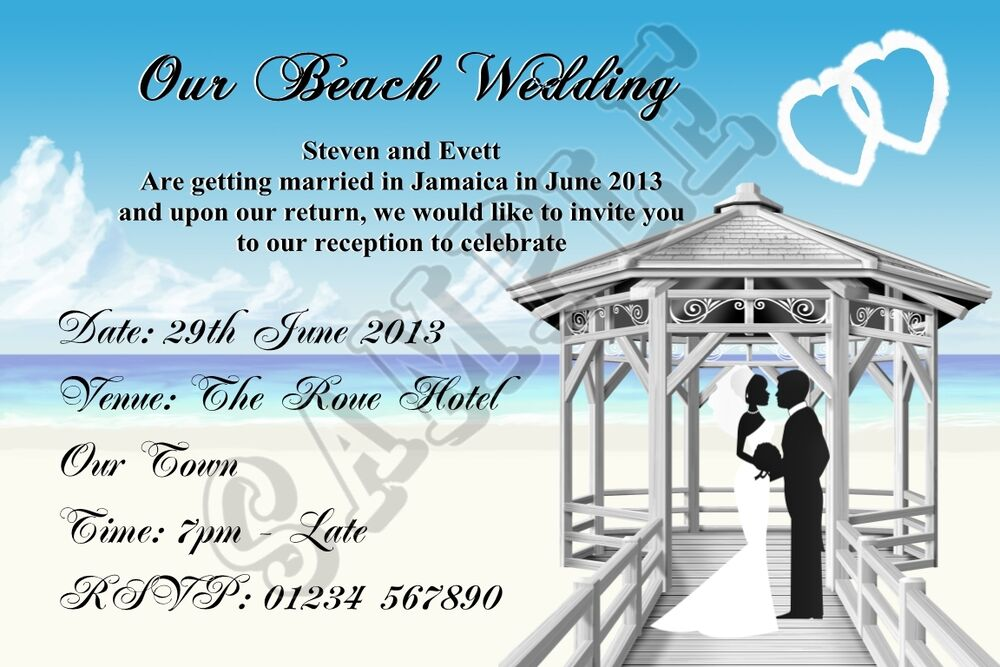 Buy Wedding Invitations Online Uk: Personalised Beach Wedding Invitations Married Abroad