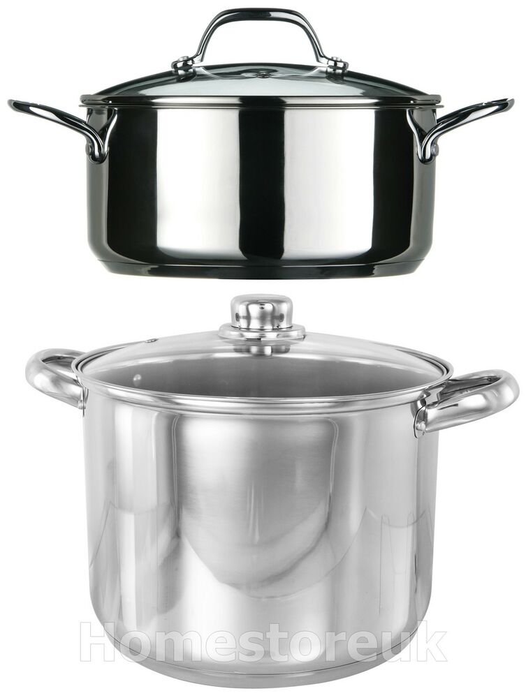 induction stainless steel stock pot cooking stew soup. Black Bedroom Furniture Sets. Home Design Ideas