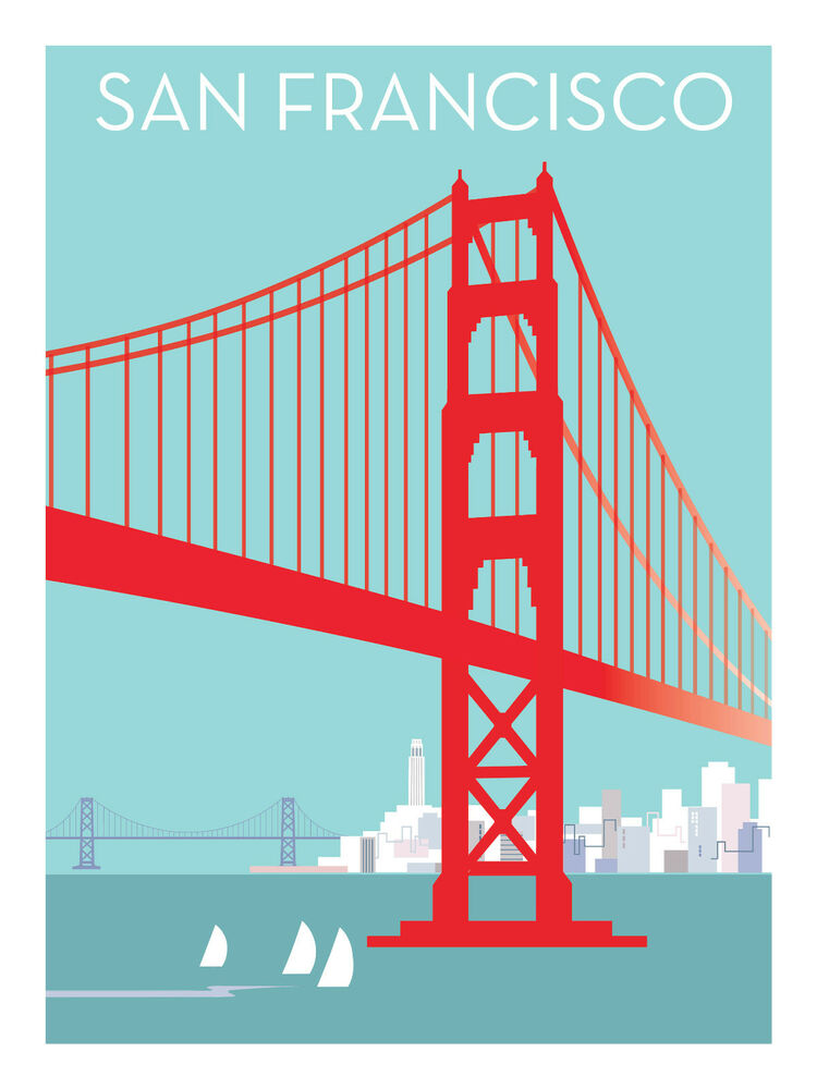 Pop art posters san francisco bay art deco golden gate for Buy art san francisco