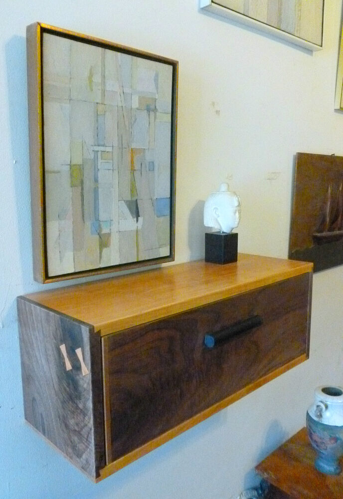 mid century modern style floating nightstand wall shelf walnut cherry art deco ebay. Black Bedroom Furniture Sets. Home Design Ideas