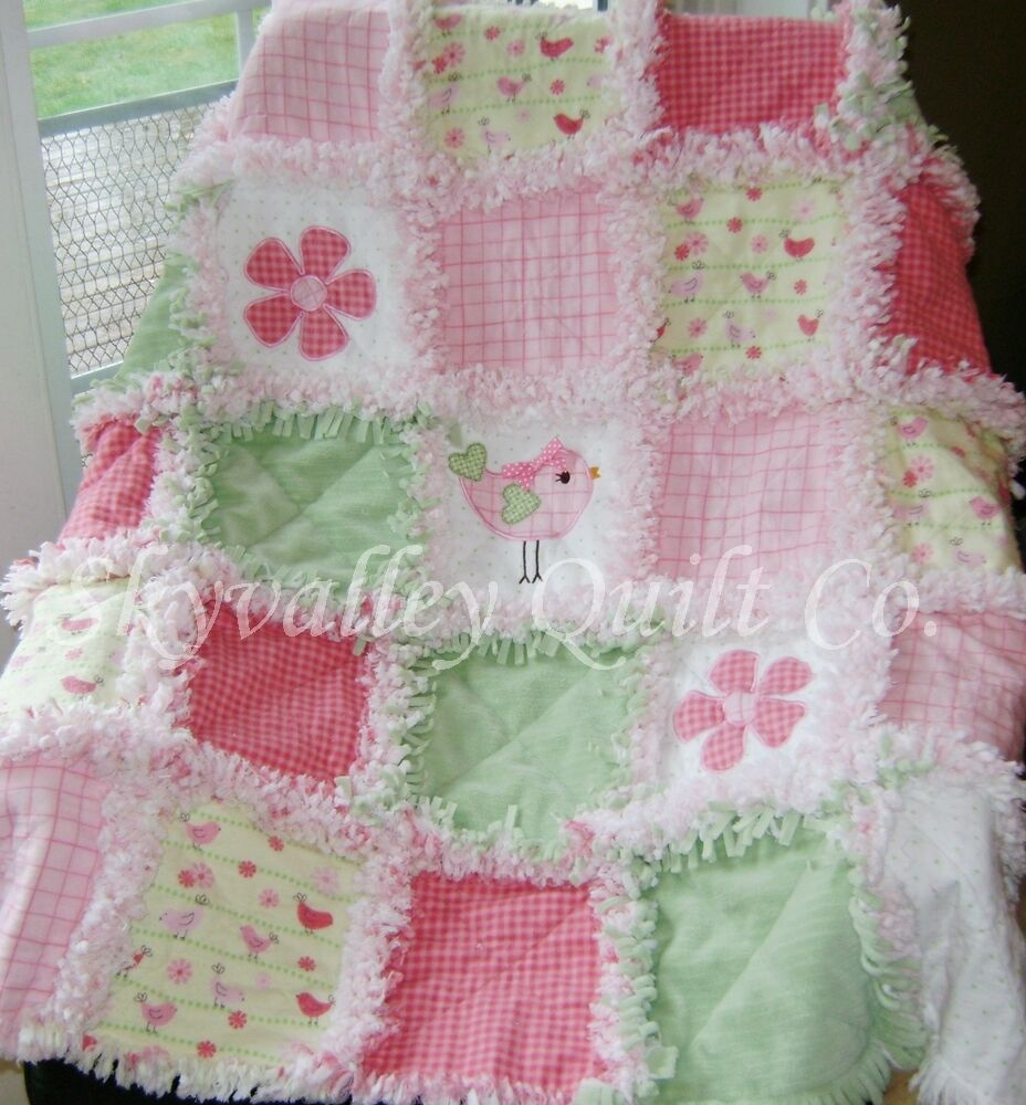 Baby Girl Rag Quilt ~ Green, yellow and pink Baby birds eBay