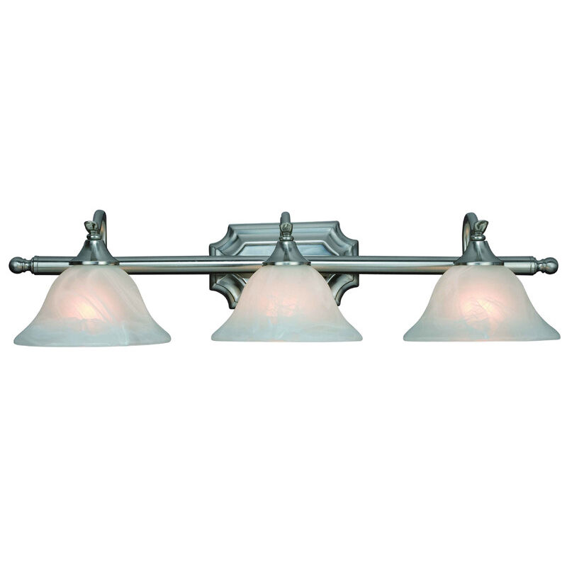 Satin Nickel 3 Bulb Bathroom Light Wall Sconce 104777 Ebay