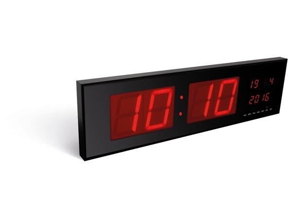 horloge pendule murale a leds rouge format geant ebay. Black Bedroom Furniture Sets. Home Design Ideas