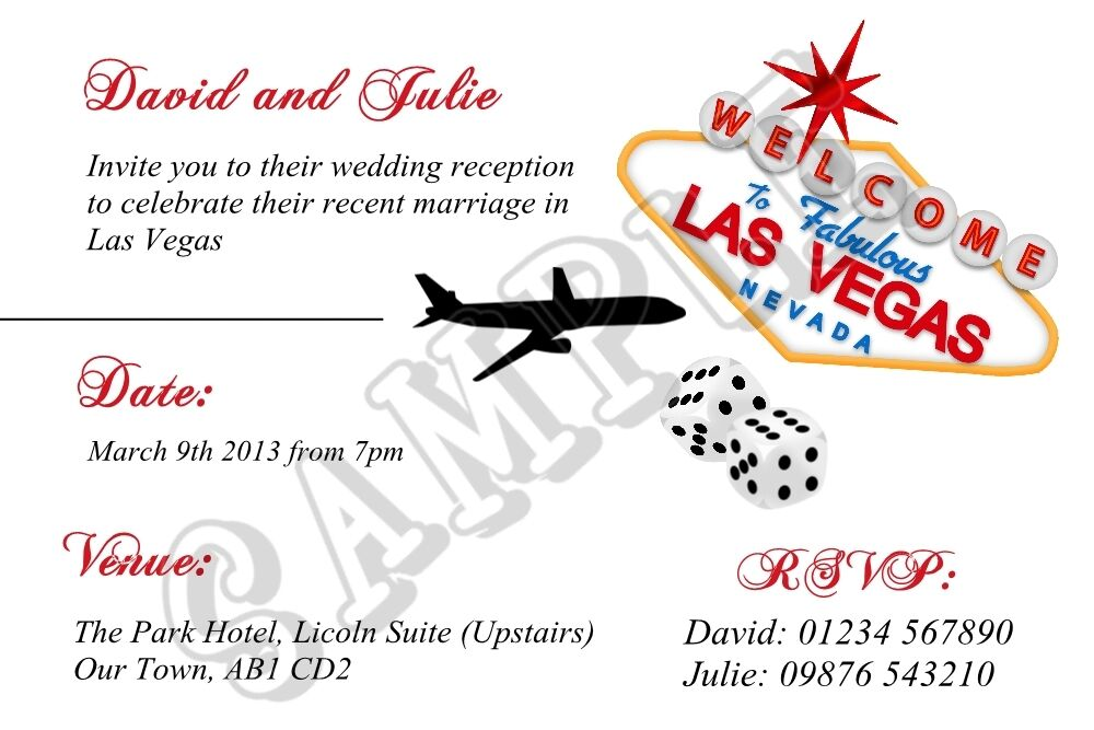 After The Wedding Party Invitations: Personalised Las Vegas Wedding Reception Invitations