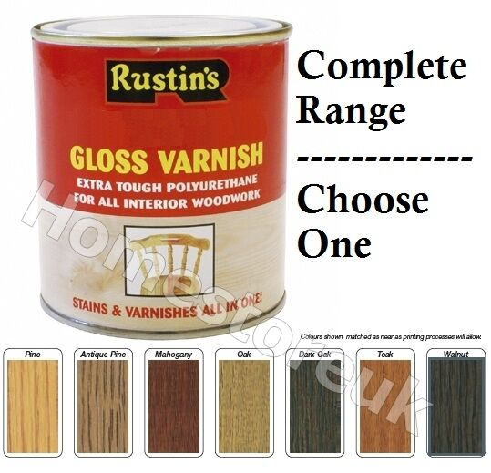 Rustins Gloss Varnish Stains Polyurethane For Interior Wood Works Clear Colour Ebay