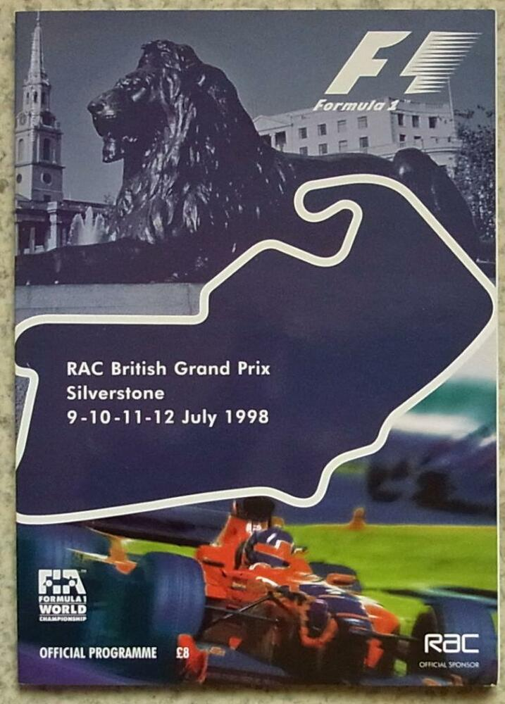 british grand prix silverstone 1998 formula one f1 official programme ebay. Black Bedroom Furniture Sets. Home Design Ideas