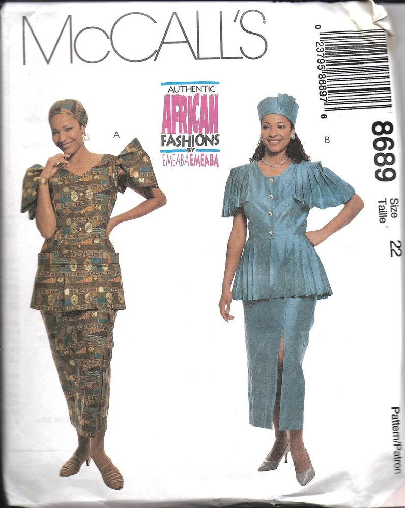 8689 Uncut Vintage Mccalls Sewing Pattern African Two