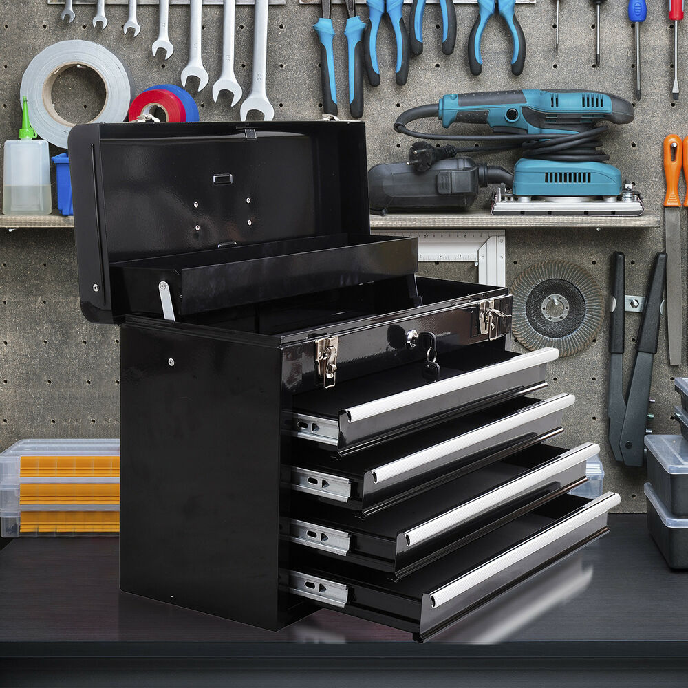 Portable toolbox locking tool chest cabinet garage storage for 4 box garage