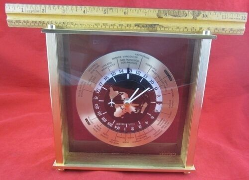 Vintage 1980s Shelf Mantel Seiko Quartz World Clock Time