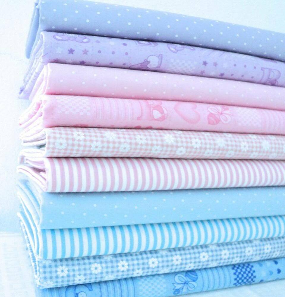 Pastel baby pink blue lilac dot gingham abc stripe poly for Nursery cotton fabric