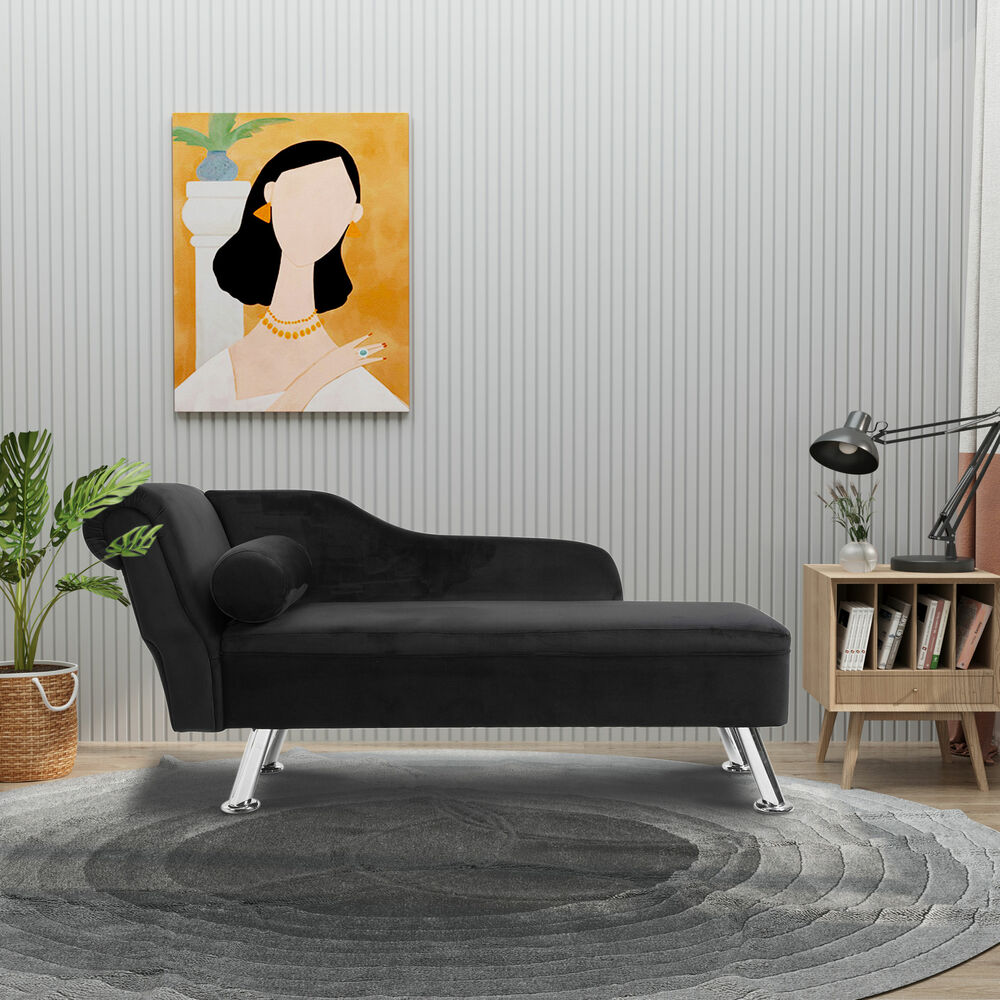 Deluxe black chaise recliner lounge sofa day bed bolster for Sofa 1 plaza chaise longue