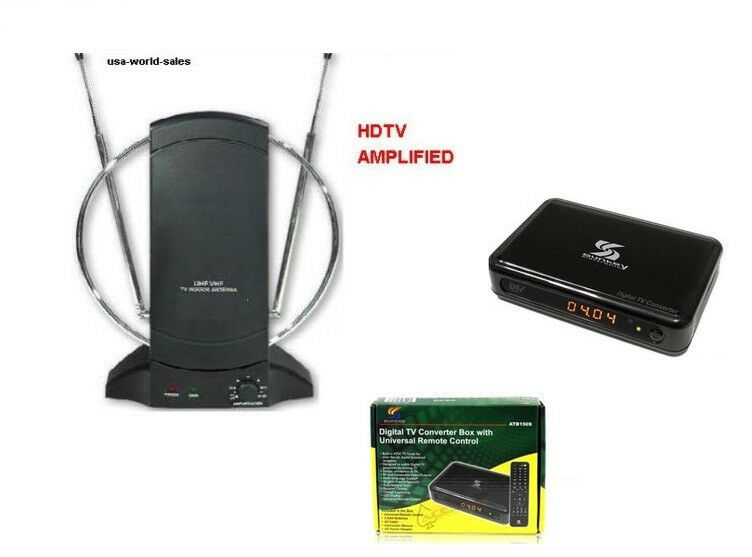 sunkey digital to analog converter box w remote amlified. Black Bedroom Furniture Sets. Home Design Ideas