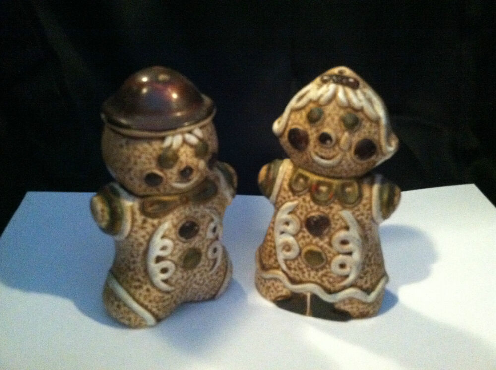 Vintage Gingerbread Man Amp Woman Couple Salt Pepper Shakers