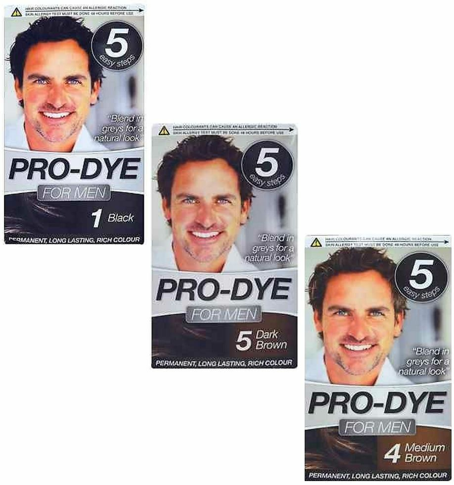 PRO DYE MEN MENS HAIR DYE PERMANENT COLOUR COLOURANT CREME SHADE JUST FOR HAI