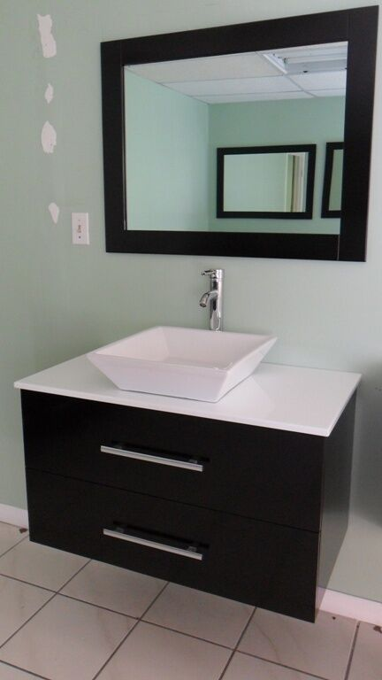 36 Modern Contemporary Bathroom Vanity Sink Cabinet WALL MOUNT EBay