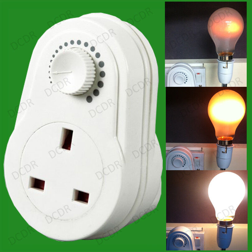 Variable Current Adaptor Plug In 3 Pin Uk Socket Converter Lamp Dimmer Switch Ebay