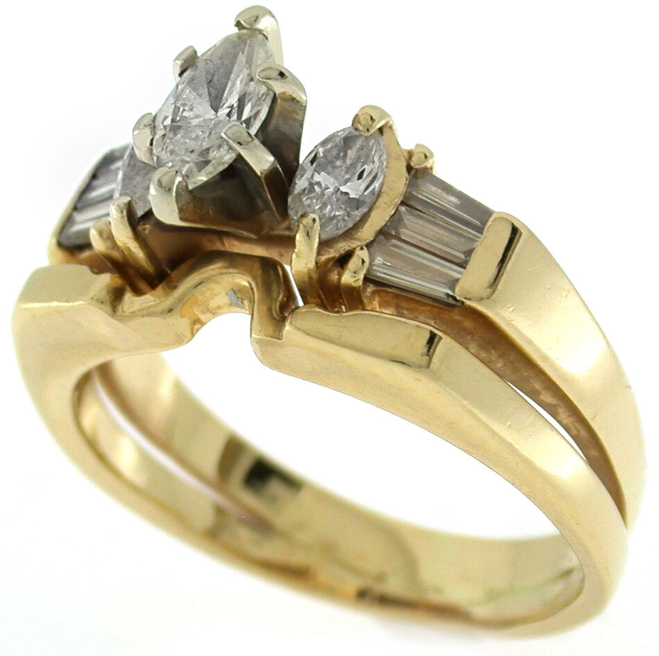 1 0 Ct Diamond Engagement Wedding Ring with Insert in 14k Yellow Gold
