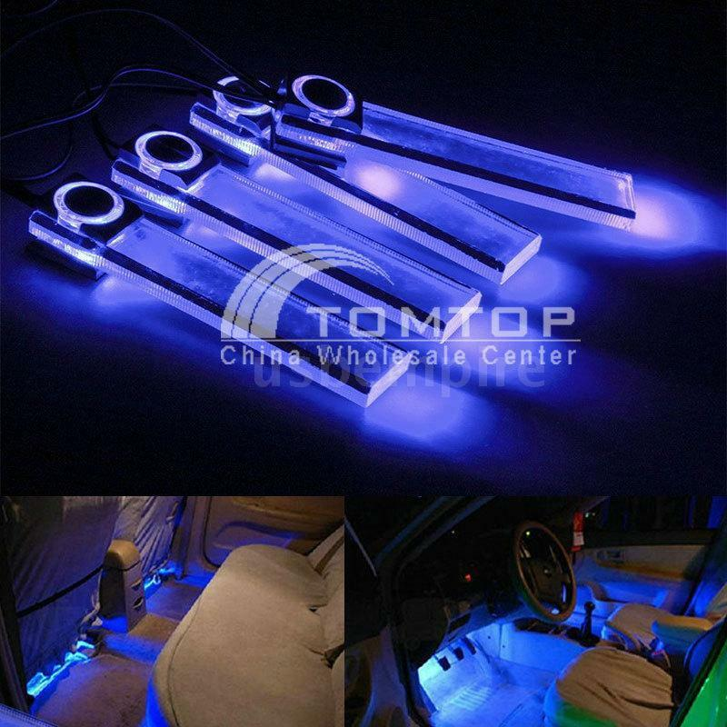 4 led car interior light auto decorative floor dash lamp car cigarette lighter ebay for Led car interior lights ebay