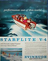 1958 Evinrude Starflite Outboard Motor Boat Water Skiers Performance ad