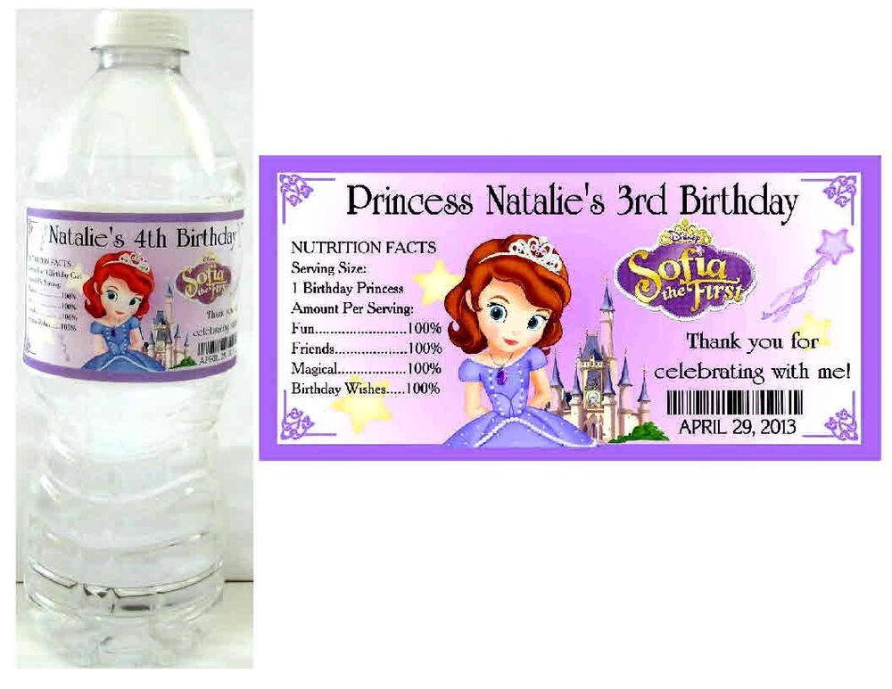 20 PRINCESS SOFIA THE FIRST BIRTHDAY PARTY FAVORS WATER