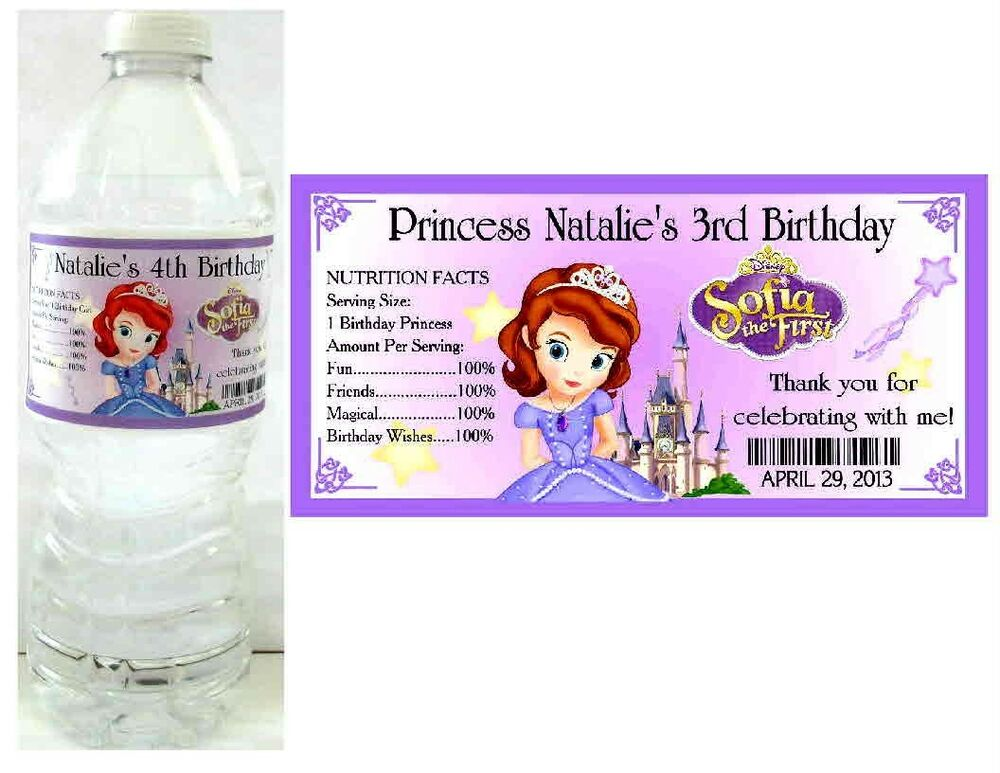 20 PRINCESS SOFIA THE FIRST BIRTHDAY PARTY FAVORS WATER ...