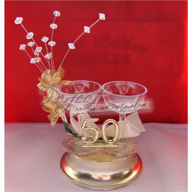 50th golden wedding anniversary cake topper decoration champagne glass design ebay - Th anniversary cake decorations ...