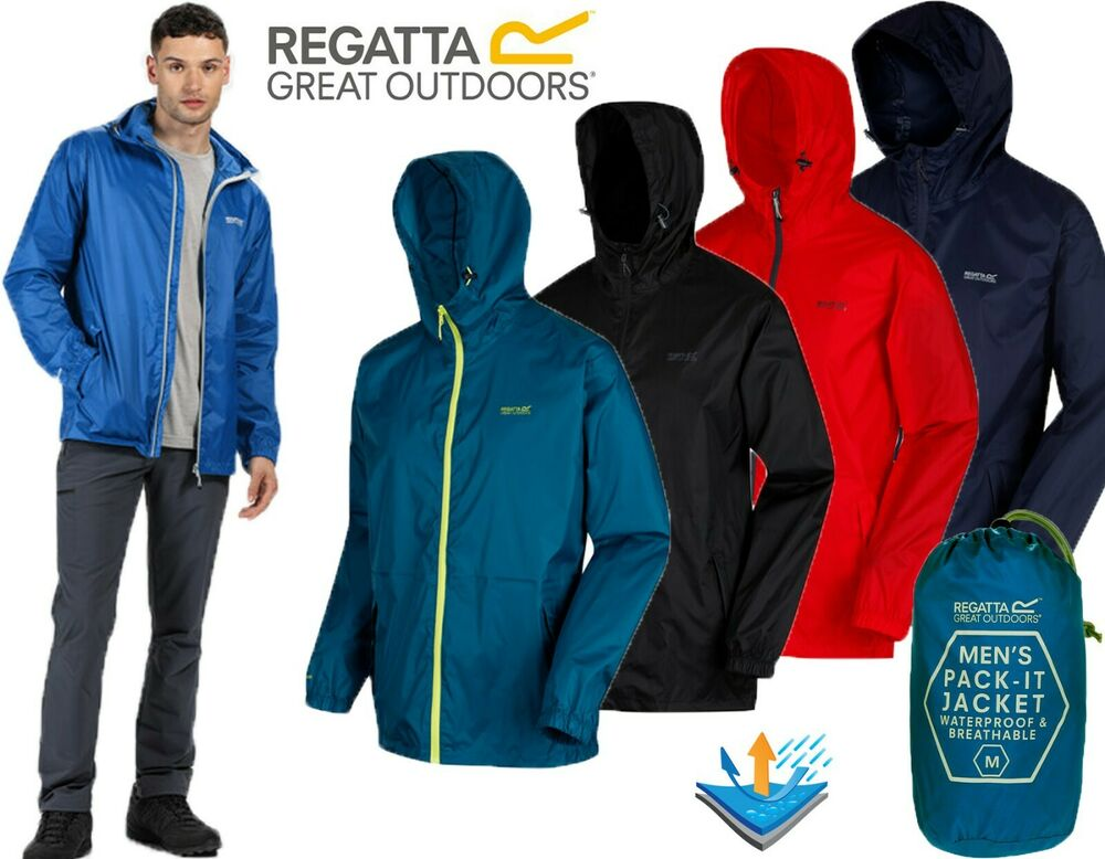 MENS REGATTA LIGHTWEIGHT BREATHABLE WATERPROOF JACKET IN A BAG ...