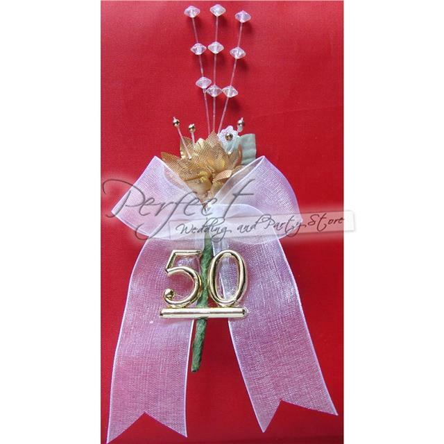50th golden wedding anniversary spray cake topper or party table decoration ebay. Black Bedroom Furniture Sets. Home Design Ideas