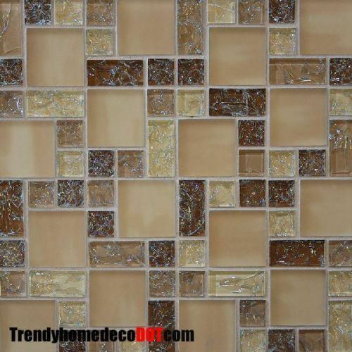 Sample Cream Crackle Glass Mosaic Tile Kitchen Backsplash: Sample- Brown Crackle Glass Mosaic Tile Kitchen Backsplash