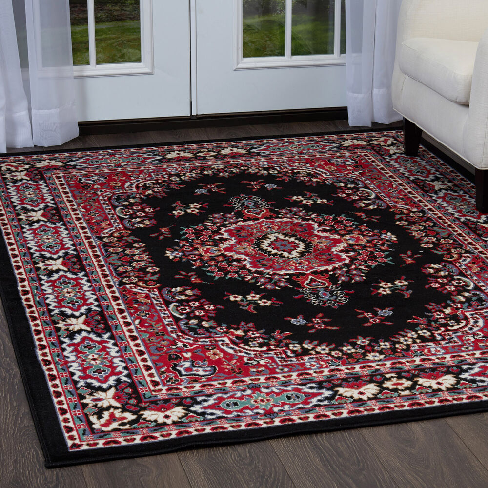 PERSIAN BLACK AREA RUG 4 X 6 SMALL ORIENTAL CARPET 69