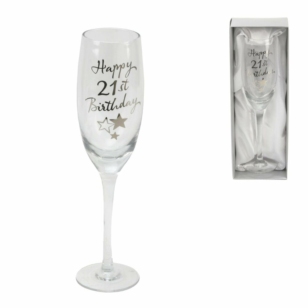 Personalised Happy 21st Birthday Champagne Glass Flute