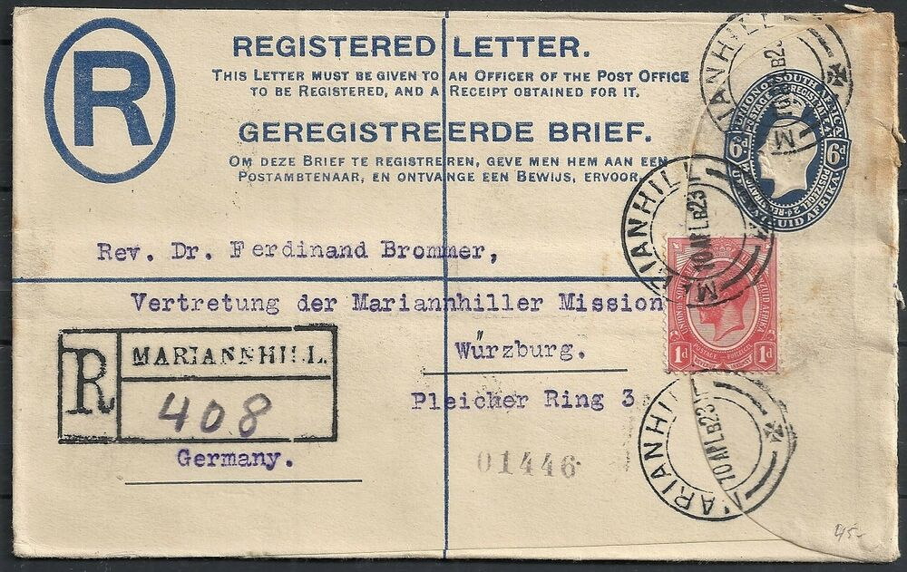 registered letter south africa 1923 registered letter narianhill to würzburg 24259 | s l1000