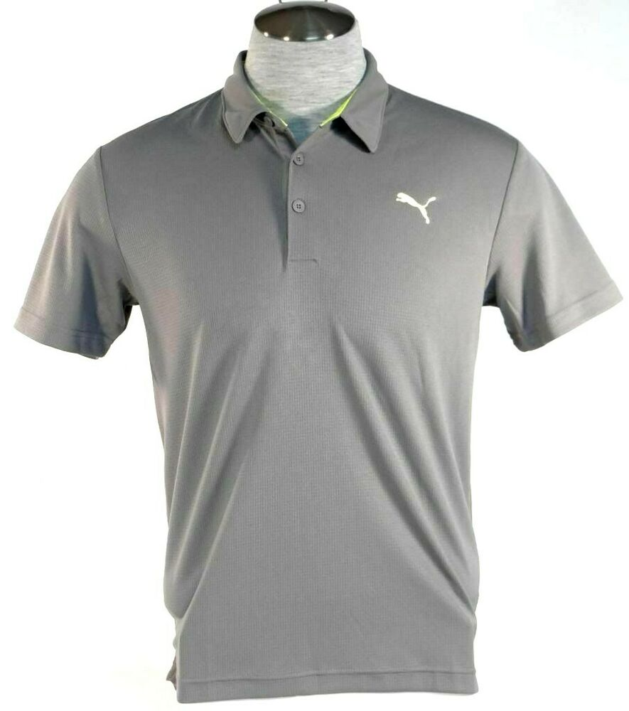 Puma Cell Moisture Wicking Gray Short Sleeve Athletic Polo