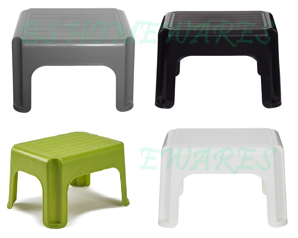 Whitefurze plastic step up stool kids child kitchen cream for Plastic stoel