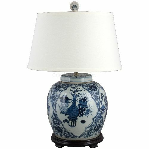 blue and white porcelain reproduction ginger jar lamp with. Black Bedroom Furniture Sets. Home Design Ideas