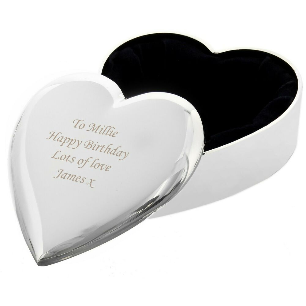 Personalised fabric lined heart trinket box free for Heart ring box