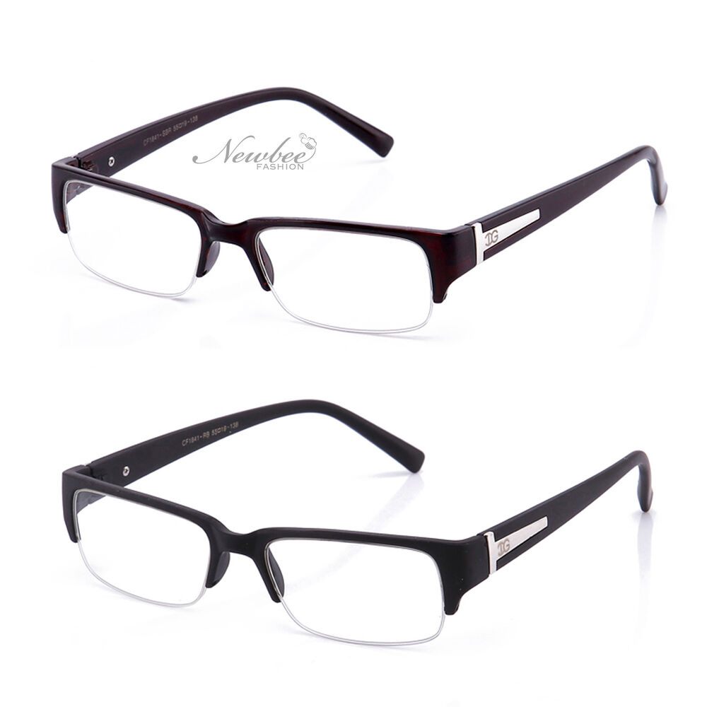Half Frame Glasses Brown : 2 Pair Half Frame Clear Lens Glasses Black or Brown ...