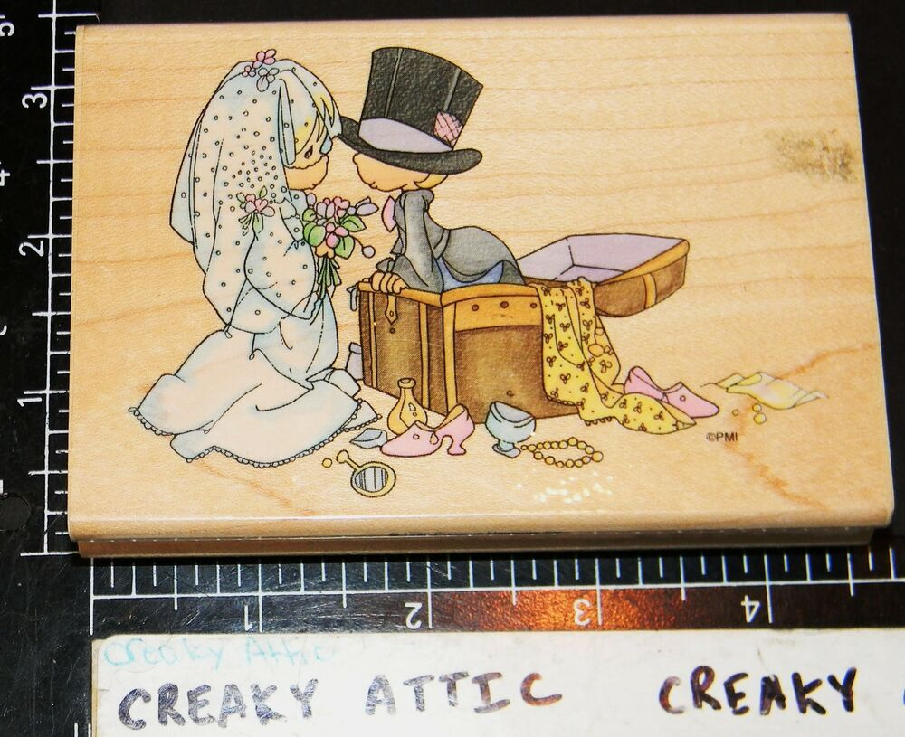 Precious moments togetherness rubber stamp stampendous ebay for Wedding dress rubber stamp
