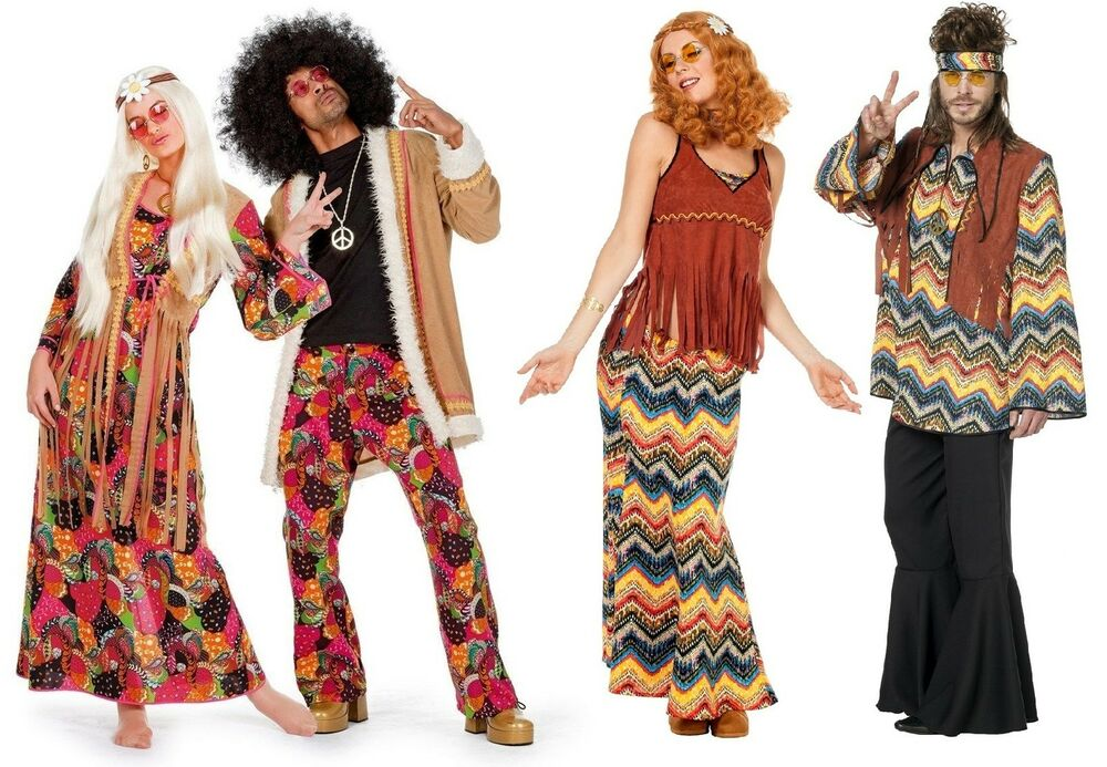 Hippiekost m 70er 80er jahre kleid kost m flowerpower for Accessoires 80er party