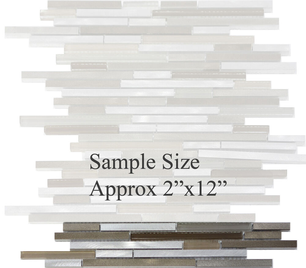 Sample White Glass Stone Metal Linear Glass Mosaic Tile: SAMPLE- Modern Metal Stainless Steel Linear Glass Mosaic