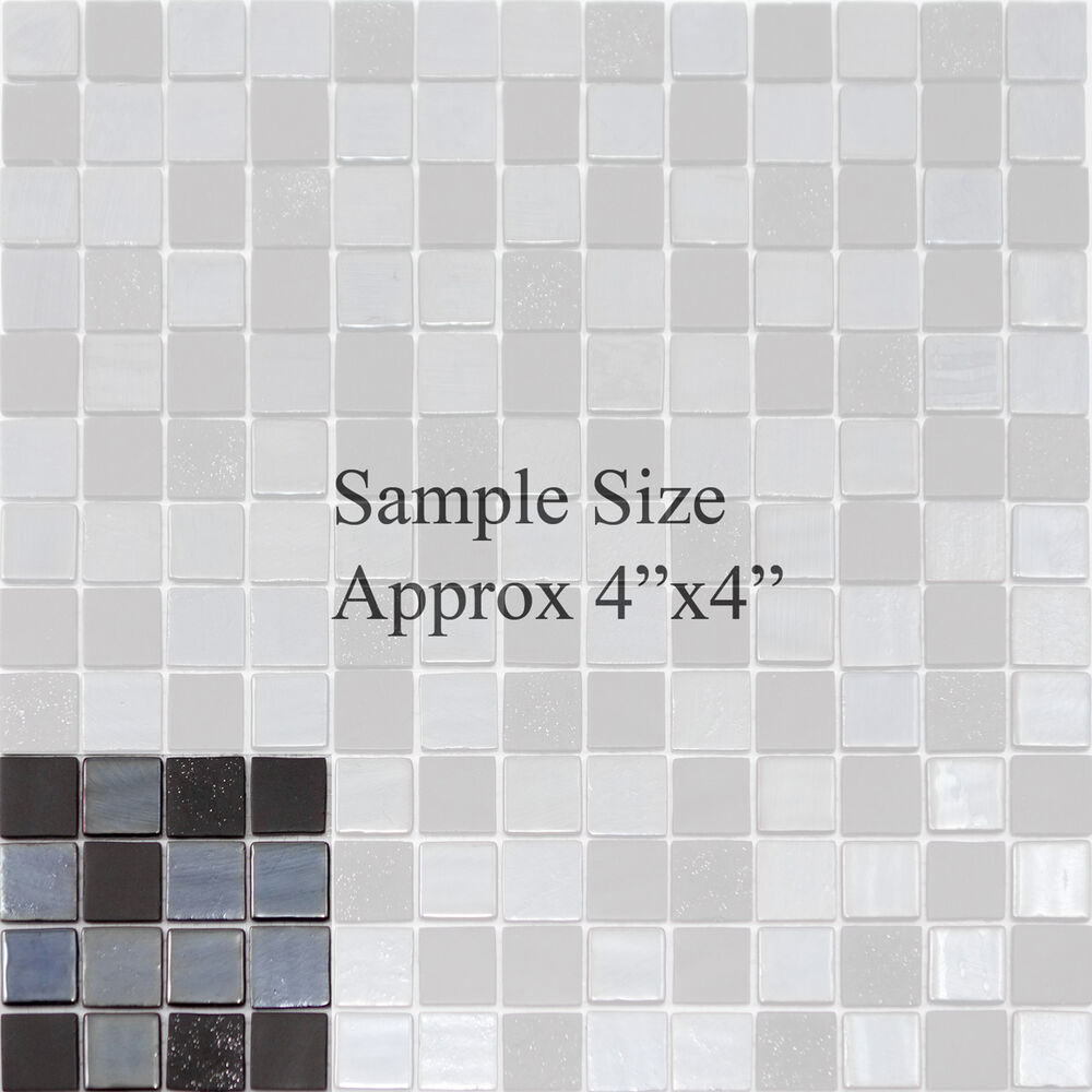 Sample modern black iridescent glass mosaic tile kitchen backsplash bathroom ebay for Glass mosaic tile backsplash bathroom