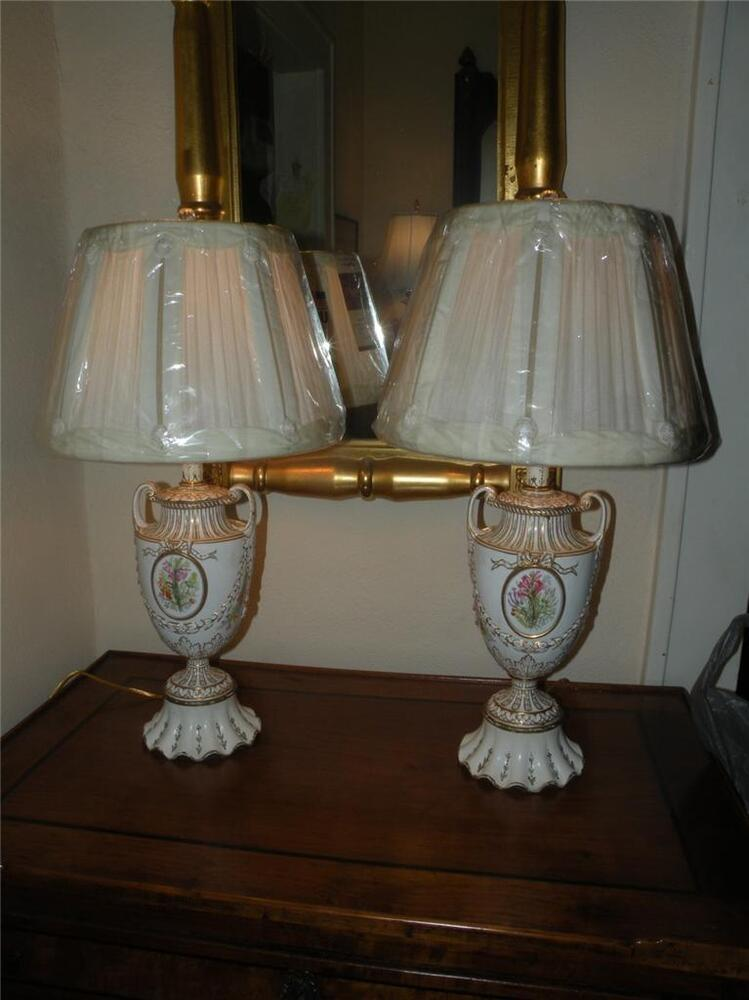 Pair Antique Hand Painted Porcelain Lamps And Shades