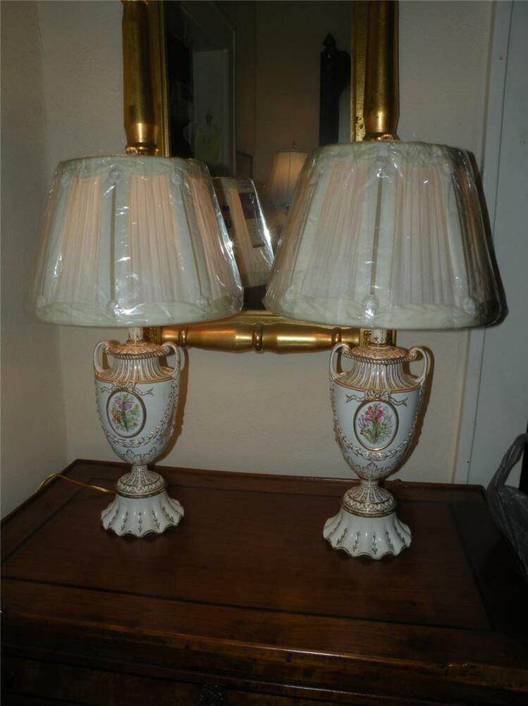 pair antique painted porcelain lamps and shades 87992