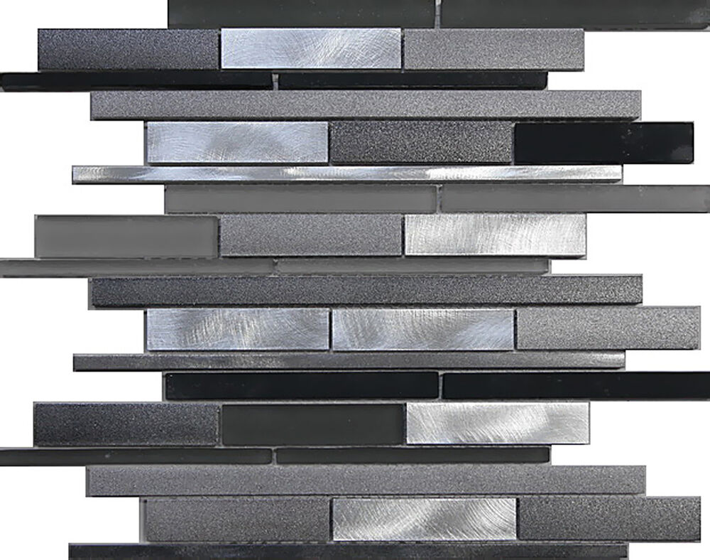 1SF Metal Stainless Steel Linear Frosted glass mosaic