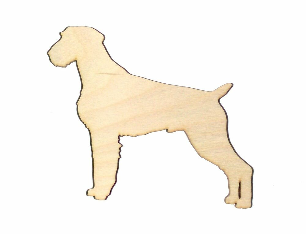 German Wirehaired Dog Unfinish Flat Wood Shape Cut Out