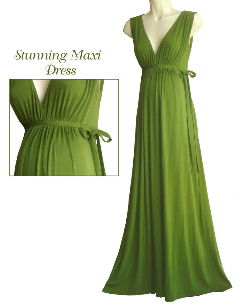 maternity maxi dress goddess green spring summer babyshower ebay